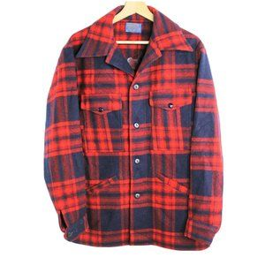 Vintage Pendleton Plaid Red Made USA Wool Jacket